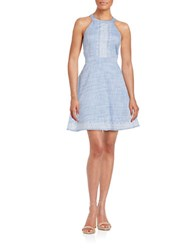 Guess Patterned Fit And Flare Dress Blue
