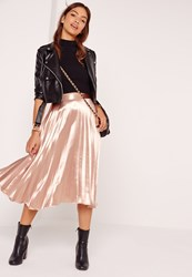 Missguided Full Pleated Midi Skirt Rose Gold Pink