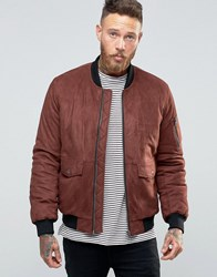 Asos Faux Suede Bomber With Patch Pocket In Burgundy Burgundy Red