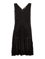 Biba Tassel Detail Fully Embellished Flapper Black