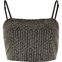 River Island Womens Black Embellished Cami Crop Top