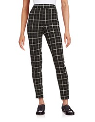 Imnyc Isaac Mizrahi Zip Cuff Plaid Leggings Black