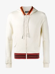 Raf Simons Cotton Blend Zip Hoodie Ecru Orange Black White Burgundy