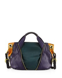 Oryany Lian Small Zip Leather Satchel Bag Teal Multi