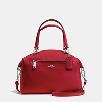 Coach Prairie Satchel In Pebble Leather Silver Red Currant