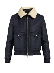 Ami Alexandre Mattiussi Shearling Collar Zip Through Wool Blend Coat Indigo