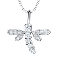 Jools By Jenny Brown Cubic Zirconia Dragonfly Pendant Necklace Silver