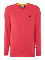 Lyle And Scott Golf Merino 12Gg V Neck Pink