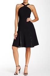 Carmen Marc Valvo Godet Pleated A Line Dress Black