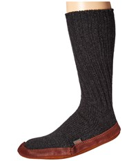 Acorn Slipper Sock Charcoal Ragg Wool Shoes Black