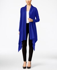 Cable And Gauge Multi Wrap Open Front Cardigan Blue Jewel