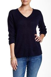 Velvet By Graham And Spencer Dillane Sheer V Neck Cashmere Sweater Blue