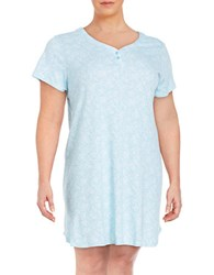 Karen Neuburger Plus Floral Nightgown Lace Blue