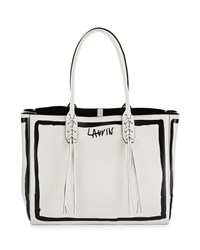 Small Tassel Logo Print Shopping Tote Bag White Black Lanvin