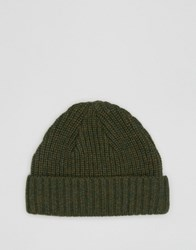 Asos Lambswool Blend Rib Fisherman Beanie In Green Green