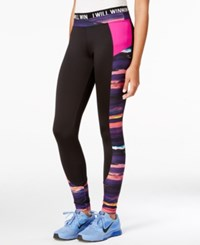 Energie Active Juniors' Goldie Print Mix Leggings Caviar Berry