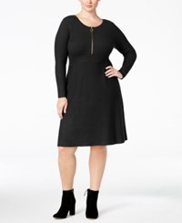 Inc International Concepts Plus Size Fit And Flare Sweater Dress Only At Macy's Deep Black