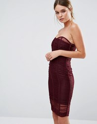 Body Frock Forget Me Not Ruched Bandeau Dress Burgundy Red