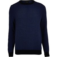 River Island Mens Dark Blue Textured Knit Jumper