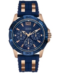 Guess Men's Rose Gold Tone And Blue Silicone Strap Watch 43Mm U0366g4