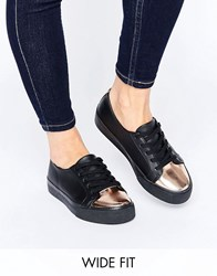 Asos Destiny Wide Fit Lace Up Trainers Black
