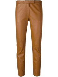 Joseph Skinny Fit Cropped Trousers Brown