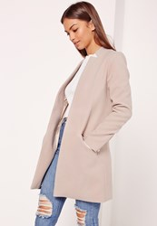 Missguided Tailored Inverted Collar Coat Nude