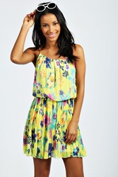 Boohoo Plaited Strap Floral Sundress Yellow