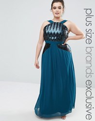 Little Mistress Plus Sequin Detail Halter Neck Maxi Dress Teal Green