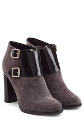 Burberry Shoes And Accessories Suede Ankle Boots With Patent Leather Grey