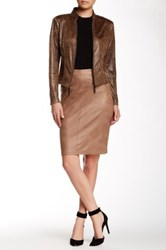 Insight Cracked Faux Suede Skirt Brown