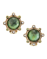 Stephen Dweck Mother Of Pearl And Quartz Button Earrings Green