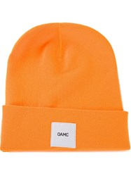 Oamc Logo Patch Beanie Yellow And Orange