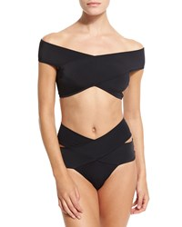 Oye Swimwear Lucette Off The Shoulder Two Piece Swimsuit Size Medium Black