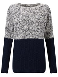 John Lewis Collection Weekend By Moss Stitch Colour Block Jumper Navy