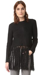 Moon River Long Fray Sweater Top Black
