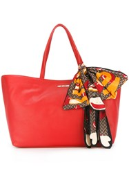 Love Moschino Monkey Scarf Detail Tote Red
