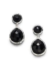Ippolita Rock Candy Black Onyx And Sterling Silver Snowman Drop Earrings Black Silver