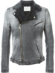 Pierre Balmain Denim Biker Jacket Green