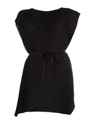 Pleats Please By Issey Miyake Pleated Belted Dress Black