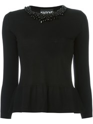 Boutique Moschino Embellished Crew Neck Sweater Black