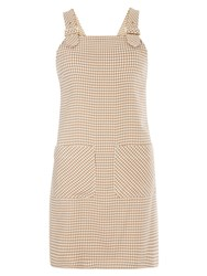 Dorothy Perkins Dogtooth Pinafore Dress White
