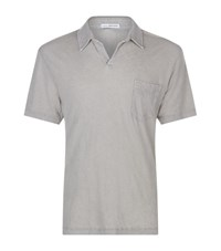 James Perse Linen Blend Polo Shirt Male Brown