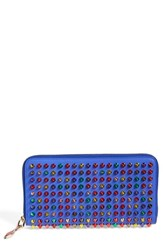 Women's Christian Louboutin 'Panettone' Spiked Calfskin Wallet Blue Pervenche Multi Metal