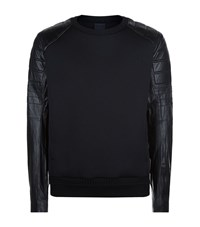 Juun.J Juun J Leather Motorcycle Sleeve Sweater Male Black