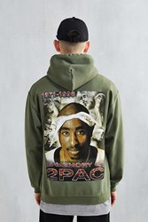 Urban Outfitters 2Pac In Memory Hooded Sweatshirt Olive