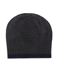 Bloomingdale's The Men's Store At Contrast Edge Beanie Charcoal Navy