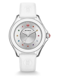 Michele Cape Multicolor Topaz Stainless Steel And Silicone Strap Watch White Multi