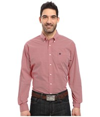 Cinch Long Sleeve Plain Weave Print Red Men's Clothing