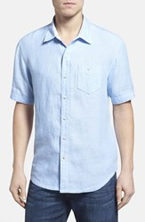 Men's Tommy Bahama 'Party Breezer' Island Modern Fit Short Sleeve Linen Sport Shirt Clear Sky Blue
